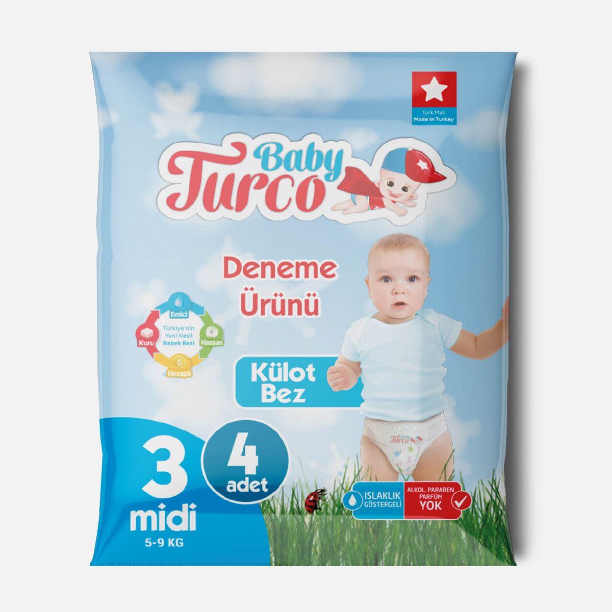 Baby Turco Külot Bez 3 Numara Midi Deneme Ürünü
