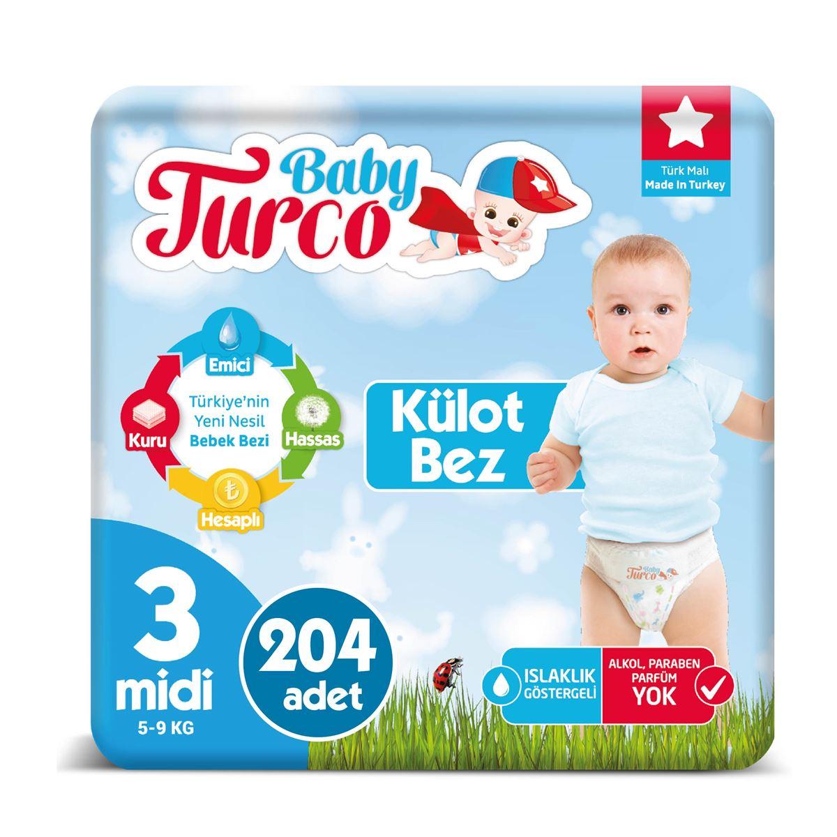 Baby Turco Külot Bez 3 Numara Midi 204 Adet