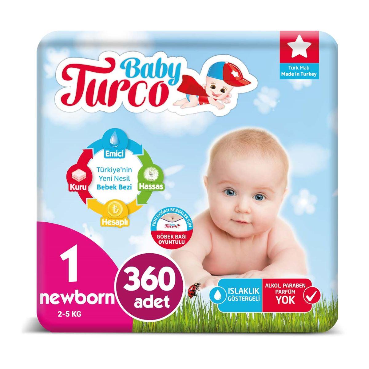 Baby Turco Bebek Bezi 1 Numara Newborn 360 Adet