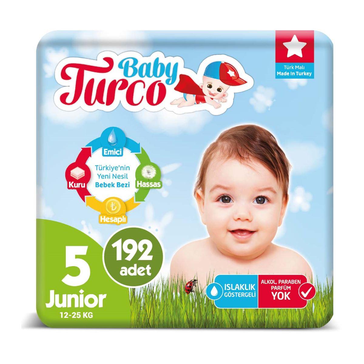 Baby Turco Bebek Bezi 5 Numara Junior 192 Adet