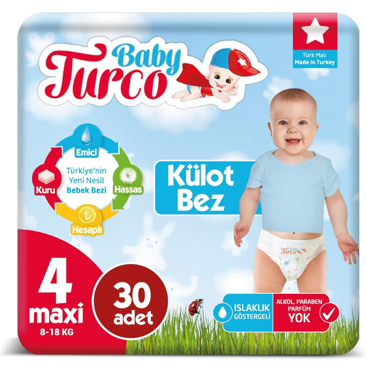 Baby Turco Külot Bez 4 Numara Maxi 30 Adet Ped Hediyeli