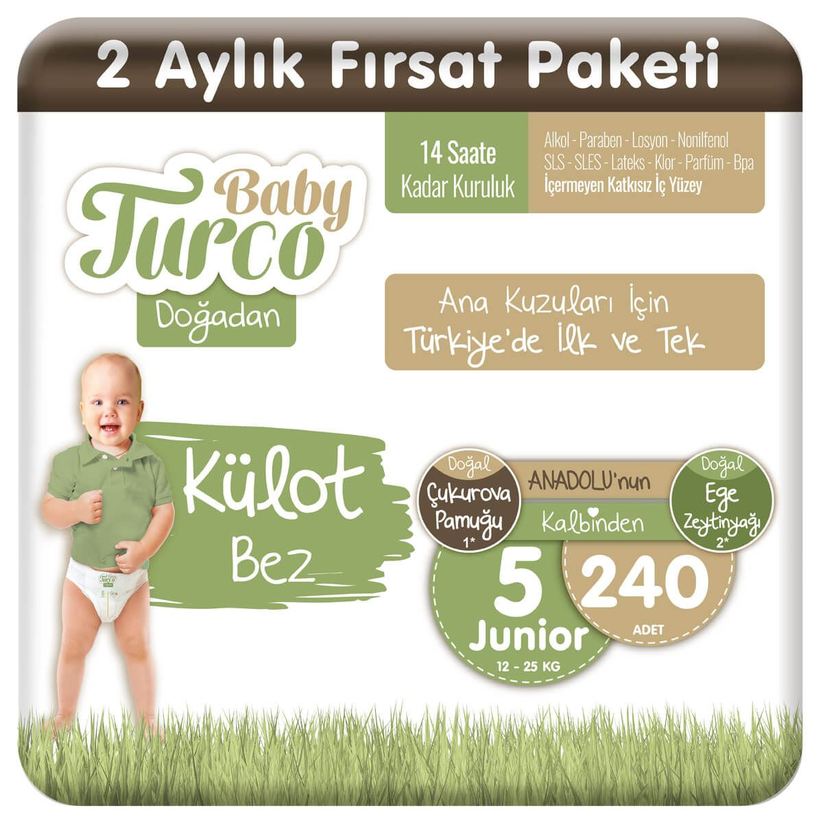 Baby Turco Doğadan Külot Bez 5 Numara Junıor 240 Adet