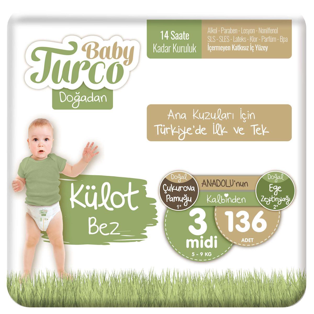 Baby Turco Doğadan Külot Bez 3 Numara Midi 136 Adet