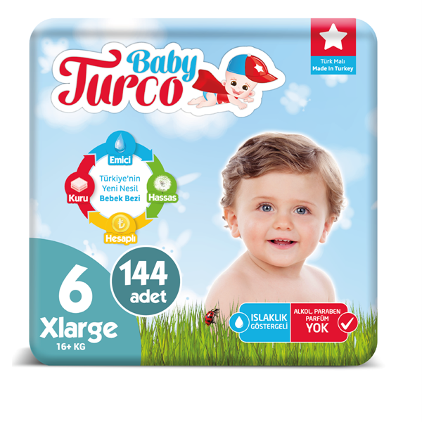 Baby Turco Bebek Bezi 6 Numara Xlarge 144 Adet