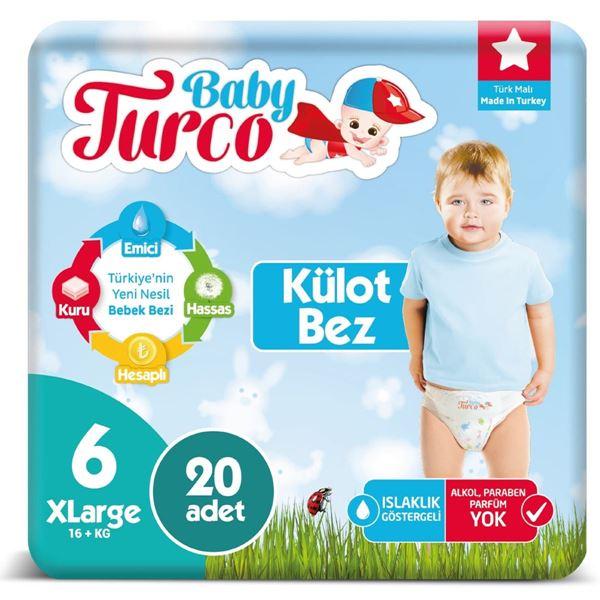 Baby Turco Külot Bez 6 Numara Xlarge 20 Adet Ped Hediyeli