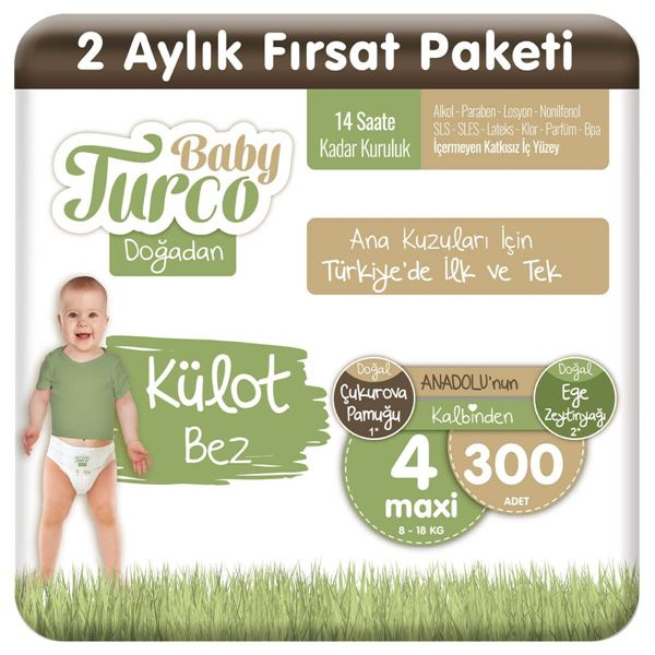 Baby Turco Doğadan Külot Bez 4 Numara Maxi 300 Adet