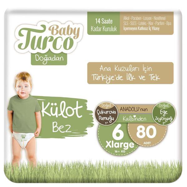 Baby Turco Doğadan Külot Bez 6 Numara Xlarge 80 Adet